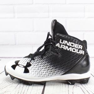 Under Armor High Top Cleats Black White 9.5
